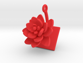 Lotus pendant with one large flower in Red Processed Versatile Plastic