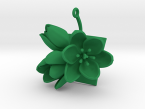 Tulip pendant with three large flowers in Green Processed Versatile Plastic