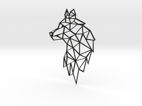 Geometric Wolf in Black Natural Versatile Plastic