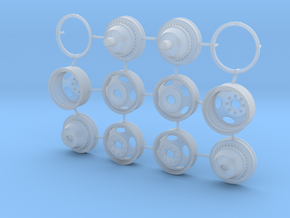 1/25 5 Hole Dually Wheel Set in Smooth Fine Detail Plastic