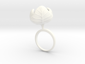 Ring with large Cauliflower in White Processed Versatile Plastic: 7.25 / 54.625