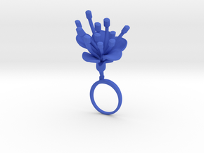 Cherry ring with one large flower in Blue Processed Versatile Plastic: 7.25 / 54.625