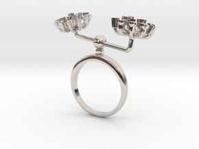 Fennel ring with two small flowers I R in Rhodium Plated Brass: 7.25 / 54.625