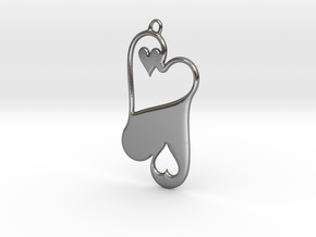 Opposing Hearts in Polished Silver