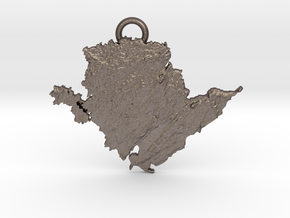 Anglesey Pendant, Relief sculpture of Anglesey in Polished Bronzed-Silver Steel