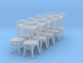 1:48 Bentwood Chairs (Set of 10) in Smooth Fine Detail Plastic