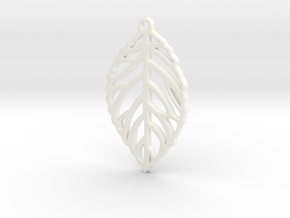 Leaf Pendant / Earring in White Processed Versatile Plastic