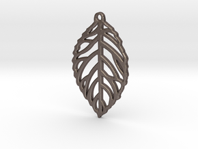 Leaf Pendant / Earring in Polished Bronzed Silver Steel