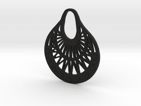 Ornamental Pendant / Earring in Black Natural Versatile Plastic