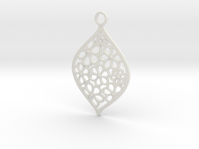 Floral Pendant / Earring in White Strong & Flexible