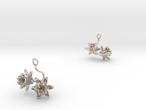 Pomegranate earring with two small flowers in Rhodium Plated Brass