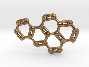 Benzo[a]pyrene Molecule Necklace Keychain in Natural Brass
