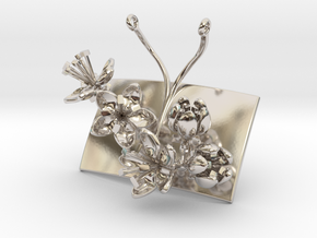 Apple pendant with five small flowers in Rhodium Plated Brass