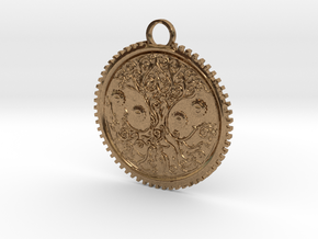 Celtic Tree Pendant in Natural Brass