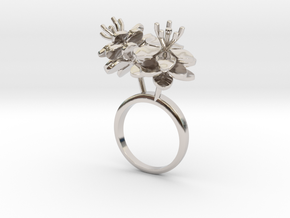 Anemone ring with two small flowers I R in Rhodium Plated Brass: 5.75 / 50.875
