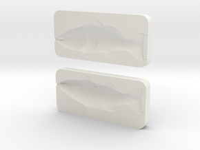 Black Bass Mold in White Natural Versatile Plastic