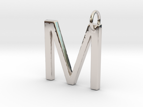 M Pendant- Makom Jewelry in Rhodium Plated Brass