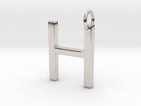 H Pendant- Makom Jewelry in Rhodium Plated Brass