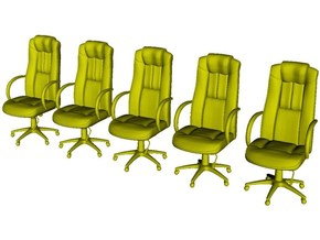 1/64 scale office chairs set A x 5 in Smoothest Fine Detail Plastic
