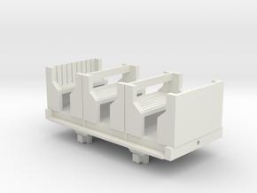 OO9 Skarloey / Talyllyn Open Coach (Short) in White Natural Versatile Plastic