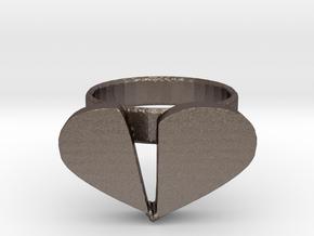 Broken Heart Ring in Polished Bronzed Silver Steel