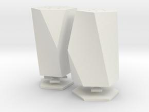 salt and pepper shakers (scutoids) in White Natural Versatile Plastic