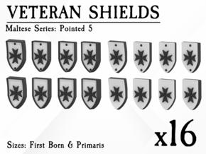 16X Veteran shields. Black Templar, Point 5 in Smooth Fine Detail Plastic: Small