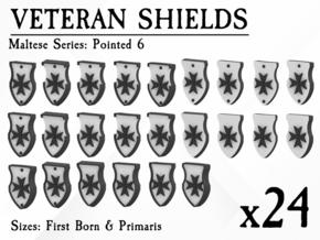 24X Veteran shields. Black Templar, Point 6 in Smooth Fine Detail Plastic: Small