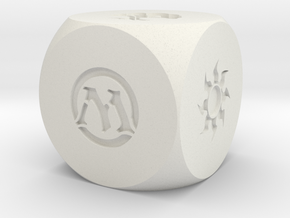 Magic The Gathering Mana D6 Die 14mm Round in White Natural Versatile Plastic