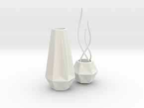 1:12 Vase Set in White Natural Versatile Plastic: 1:12