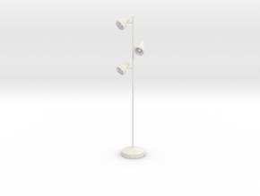 Miniature Floor Triple Lamp 'Office Days' in White Premium Versatile Plastic: 1:12