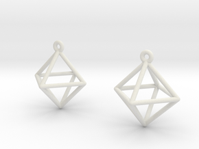 Octahedron Earrings in White Natural Versatile Plastic
