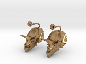Triceratops Head earrings in Natural Brass
