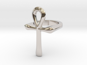 Ankh ring (all sizes) in Rhodium Plated Brass: 5 / 49