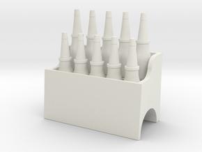 RC Garage Oil Bottle Rack 1:18 Scale in White Natural Versatile Plastic