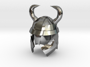 Finger Hat: Viking Helmet in Fine Detail Polished Silver