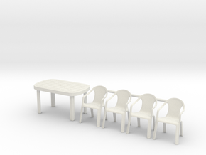 Table and Plastic Chairs 01. 1:24 Scale in White Natural Versatile Plastic