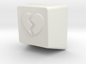 Broken Heart MX Keycap 1U R1 in White Natural Versatile Plastic