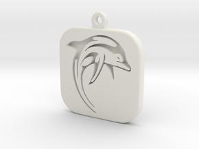 Dolphin Keychain in White Natural Versatile Plastic