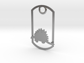 Stegosaurus dog tag in Natural Silver