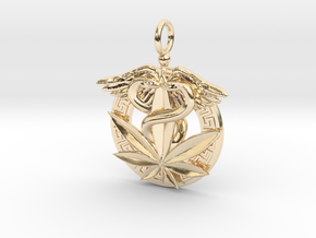 Medical Marijuana Pendant Greek Meander in 14k Gold Plated Brass