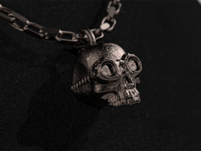 Steampunk Skull Pendant in Polished Bronzed Silver Steel