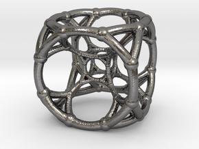 4d Polytope Bead - Multidimensional Math Art Penda in Polished Nickel Steel
