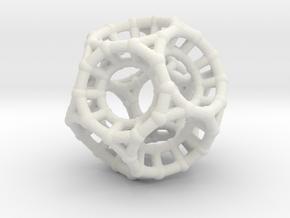 4d Polytope Bead - Non-Euclidean Math Art Pendant  in White Natural Versatile Plastic