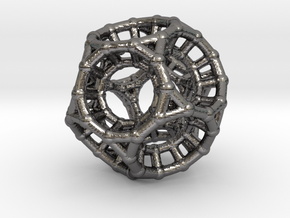 4d Polytope Bead - Non-Euclidean Math Art Pendant  in Polished Nickel Steel