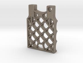 SpaceX grid fin Keychain in Matte Bronzed-Silver Steel