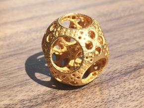 Apollonian Octahedron Mini in Polished Gold Steel