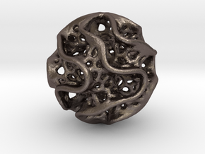Small Gyroid Sphere in Polished Bronzed-Silver Steel