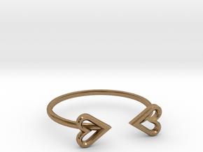 FLYHIGH: Open Heart Skinny Bracelet in Natural Brass