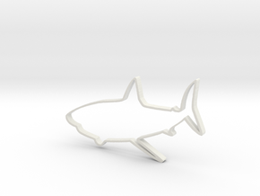 Shark Outline Necklace Pendant in White Natural Versatile Plastic
